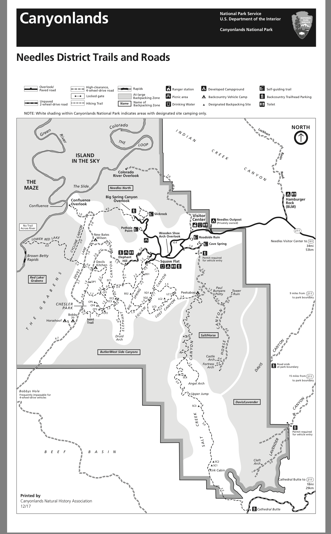 Map of the trails in the Needles at Canyonlands